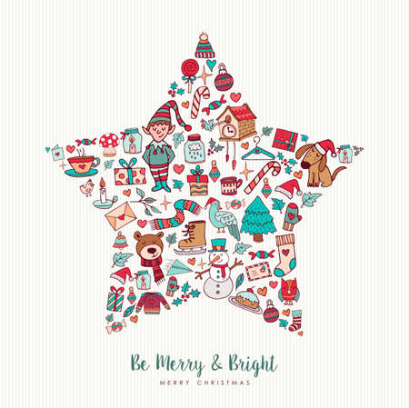 Merry Christmas and happy new year hand drawn holiday icons in star shape. Includes puppy, elf, winter decoration. EPS10 vector.