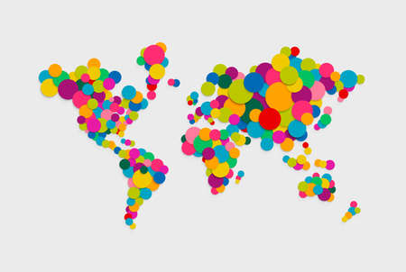 Colorful abstract world map concept illustration made of vibrant multicolor circles in 3d paper cut style. EPS10 vector.