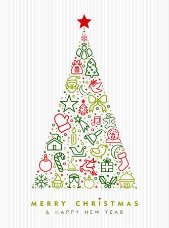 Feliz Natal e feliz ano novo design de cartão, feriado linha arte ícone ilustração fazendo forma de árvore de pinho. Vetor EPS10.