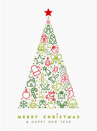 Merry Christmas and happy New Year greeting card design, holiday line art icon illustration making pine tree shape. EPS10 vector.