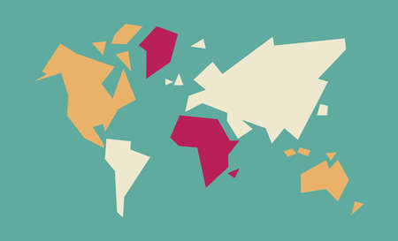 Abstract geometric world map art with colorful continent and abstract geometric world map art with colorful continent and country shapes concept global atlas illustration gumiabroncs Image collections