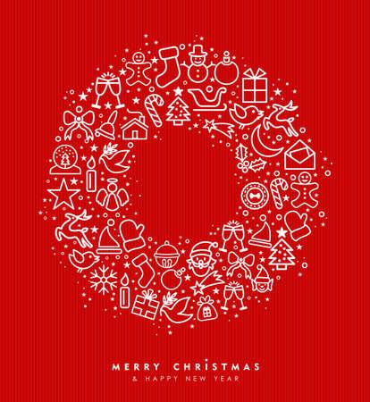 Vrolijk Kerstmis en gelukkig Nieuwjaar wenskaart ontwerp met de rode illustratie van het pictogramillustratie van de vakantie lijnkunst. Bevat krans decoratie, rendier, dennenboom. EPS10 vector.
