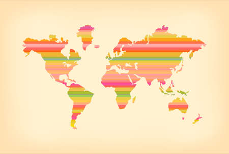 Concept world map illustration template with colorful stripes and vintage paper texture background. EPS10 vector. 向量圖像