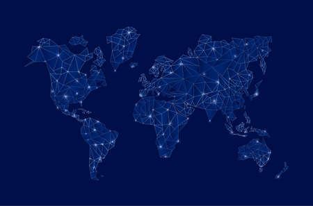 Moderne blauwe digitale wereld kaart concept illustratie met futuristische elementen ideaal voor business, wetenschap of internet-project. EPS10 vector.