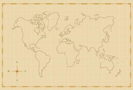 Plantilla de la ilustración del mapa del mundo de la vendimia en viejo estilo dibujado mano, concepto antiguo del mapa del pirata. EPS10 vector. Foto de archivo - 85552210