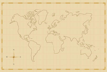 Vintage world map illustration template in old hand drawn style, antique pirate map concept. EPS10 vector.