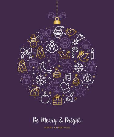 메리 크리스마스 인사말 카드 디자인 골드 휴가 라인 아트 아이콘 그림. 장식 장식, 순록, 소나무가 포함됩니다. EPS10 벡터입니다.