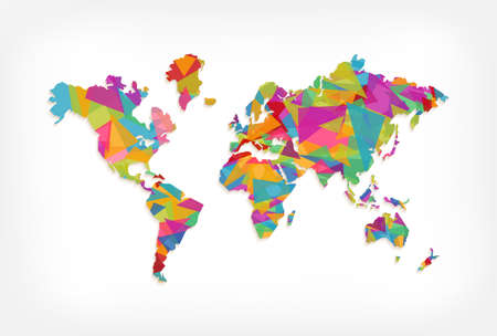 Abstract world map illustration template made of colorful triangle shapes. Modern geometric planet silhouette. EPS10 vector.