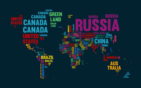 Typography color world map made of every country name. Concept text atlas design with continent shapes. EPS10 vector.