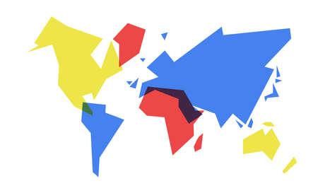 抽象世界地図シンプルなコンセプトのイラスト、カラフル幾何学的大陸形状のデザイン。EPS10 ベクトル。