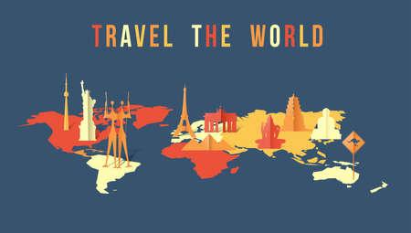 지도 및 3d에서 세계적인 랜드 마크와 함께 세계 그림 여행 종이 잘라 스타일. 에펠 탑, 자유의여 신상, 기자 피라미드가 포함됩니다. EPS10 벡터입니다.