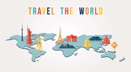 Travel the world illustration with map and worldwide landmarks in 3d paper cut style. Includes Eiffel tower, Liberty statue, Giza pyramids. EPS10 vector.