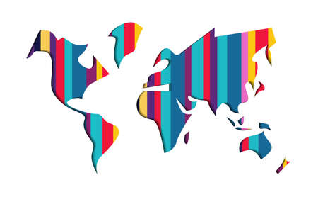 World map shape illustration in modern 3d paper cut art style. Colorful striped papercraft cutout design. EPS10 vector.