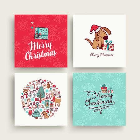 Merry Christmas hand getrokken wenskaart set. Stock Illustratie