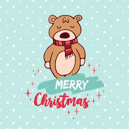 Merry Christmas hand drawn baby bear greeting card illustration.