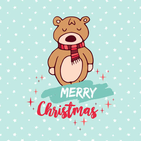 Merry Christmas hand drawn baby bear greeting card illustration.