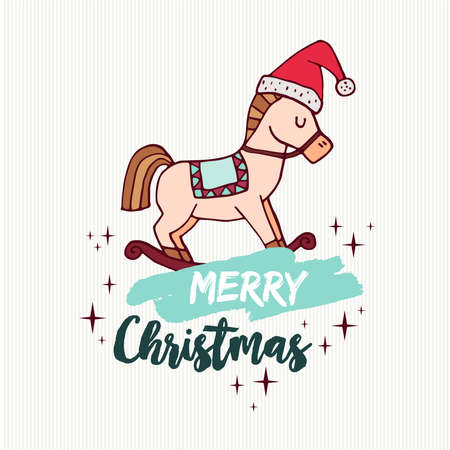 Merry Christmas hand drawn greeting card. Imagens - 85725813