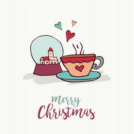 Merry Christmas hand getrokken decoratie wenskaart. Stock Illustratie