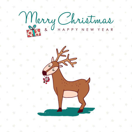 Merry Christmas New Year hand drawn reindeer greeting card illustration.