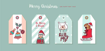 Merry Christmas Happy New Year hand drawn label tag set.
