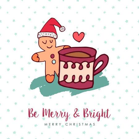 메리 크리스마스 손으로 그린 겨울 음식 인사말 카드.