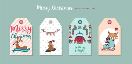 Merry Christmas Happy New Year hand drawn label tag set, Includes funny cartoon puppy, deer, holiday decoration and typography quotes. Illustration