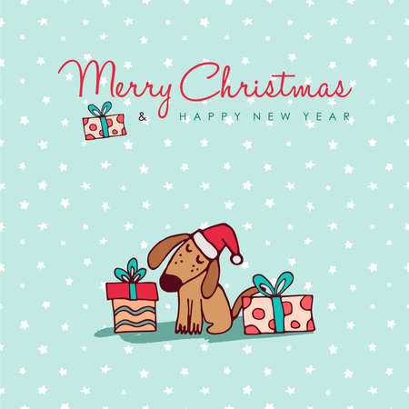 Merry Christmas Happy New Year hand drawn dog greeting card illustration, Funny puppy in santa hat with gift boxes and handwritten holiday typography quote.
