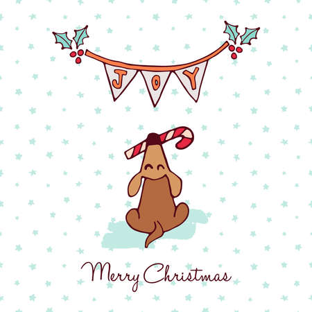 Merry Christmas hand drawn greeting card illustration, Funny puppy with xmas candy cane.