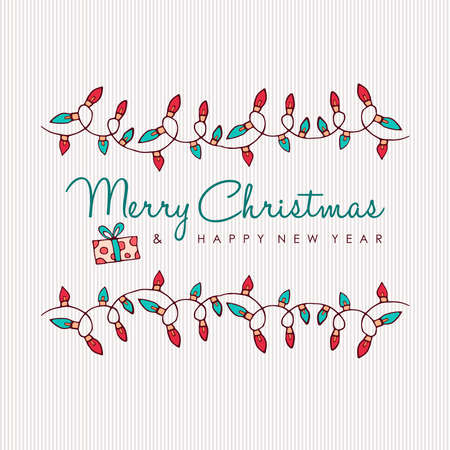 Merry Christmas and Happy New Year hand drawn greeting card. Cute xmas lights decoration with holiday typography quote. EPS10 vector.