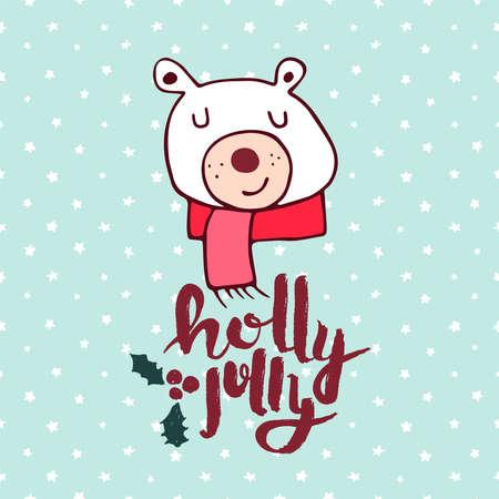 Merry Christmas hand drawn polar bear greeting card illustration. Cute winter animal cartoon with handwritten holiday typography quote. EPS10 vector. Ilustração