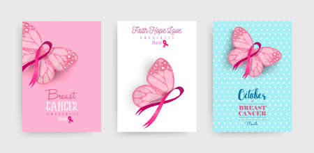 Breast cancer awareness month illustration set with pink hand drawn ribbon butterfly art for support campaign. EPS10 vector.