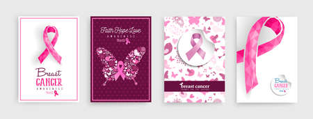 Breast cancer awareness month illustration set with pink ribbon butterfly and decoration icons for support campaign. EPS10 vector.