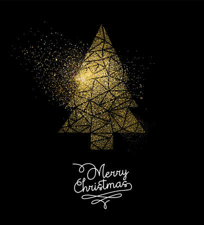 Merry Christmas gold holiday luxury greeting card design. Xmas pine tree made of golden glitter dust on black background. EPS10 vector.
