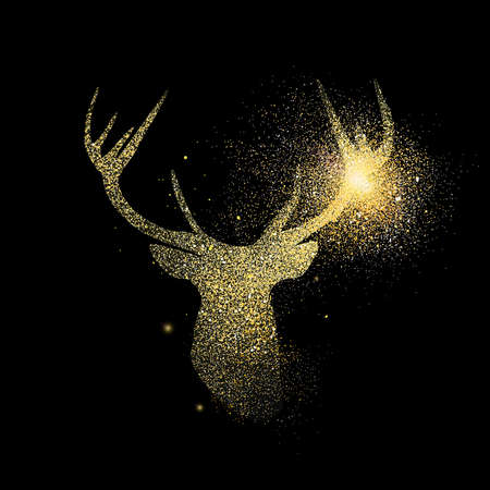 Reindeer head symbol concept illustration, gold deer icon made of realistic golden glitter dust on black background. EPS10 vector.