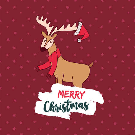 cold: Merry Christmas hand drawn reindeer greeting card illustration. Cute deer cartoon with scarf and typography quote. EPS10 vector.