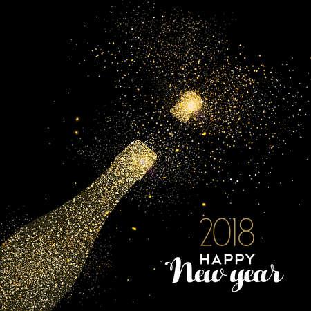 Szczęśliwego nowego roku 2018 złota butelka szampana uroczystości wykonane z realistycznego złoty pył brokatowy. Idealny na świąteczną kartkę lub eleganckie zaproszenie na przyjęcie. Eps10 wektor.