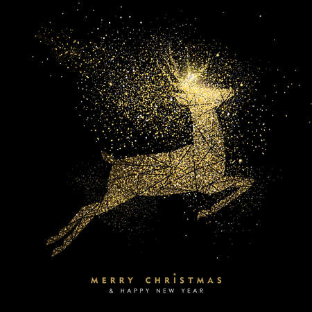 Merry Christmas and Happy New Year luxury greeting card design, gold reindeer silhouette made of golden glitter dust on black background. EPS10 vector.