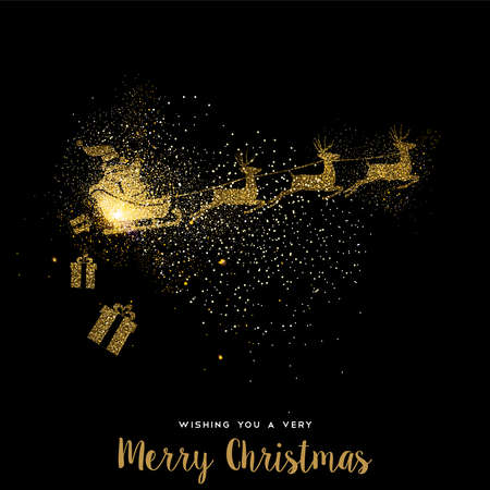 Merry Christmas gold luxury greeting card design. Santa Claus in sledge with deer made of golden glitter dust on black background. EPS10 vector. Vectores