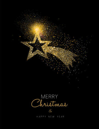 Merry Christmas and Happy New Year luxury gold greeting card design. Shooting star made of golden glitter dust on black background. EPS10 vector.
