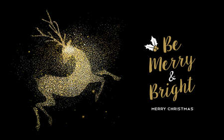 Merry Christmas gold deer luxury greeting card design. Reindeer made of golden glitter dust on black background. EPS10 vector. Ilustrace
