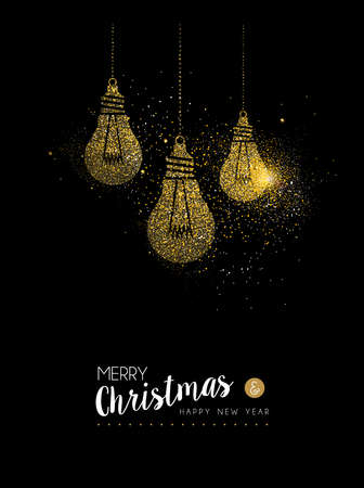 Merry Christmas and Happy New Year luxury greeting card design, gold light bulb decoration made of golden glitter dust on black background. EPS10 vector.