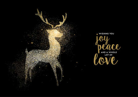 Merry Christmas gold deer luxury greeting card design. Reindeer made of golden glitter dust on black background. EPS10 vector. Ilustração