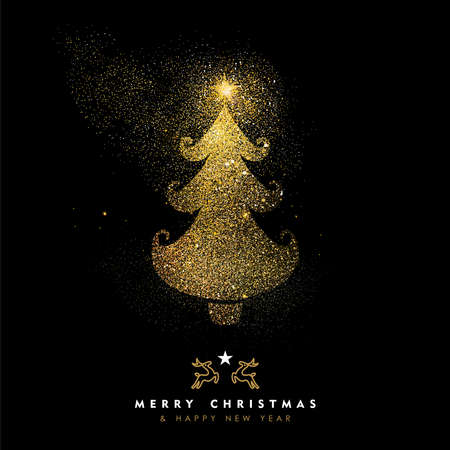 Merry Christmas and Happy New Year luxury greeting card design, gold xmas pine tree made of golden glitter dust on black background. EPS10 vector.