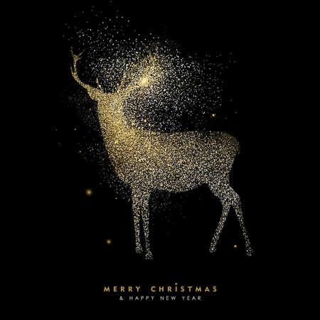 Joyeux Noël et bonne année design de carte de voeux de luxe, silhouette en rennes d'or faite de poussière dorée dorée sur fond noir. Vector EPS10.