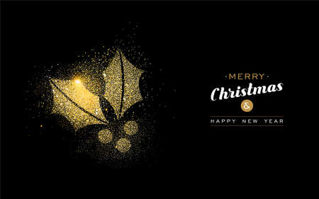 Merry Christmas and Happy New Year luxury greeting card design, gold holly leaf made of golden glitter dust on black background. EPS10 vector.