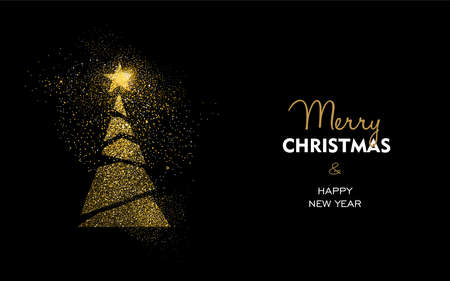 Merry Christmas and Happy New Year luxury greeting card design, abstract gold pine tree made of golden glitter dust on black background. EPS10 vector.