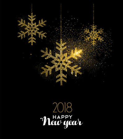 Happy New Year 2018 luxury gold snow greeting card design. Snowflake made of golden glitter dust on black background. EPS10 vector.