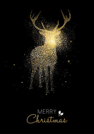 Merry Christmas gold deer luxury greeting card design. Reindeer made of golden glitter dust on black background. EPS10 vector. 일러스트
