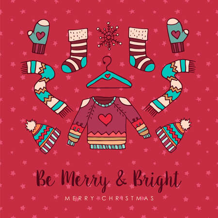 Merry Christmas hand drawn winter fashion greeting card. Includes ugly sweater, ice skate, hat, and socks with handwritten holiday typography quote. EPS10 vector.