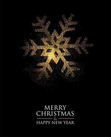 Snowflake made of golden glitter dust on black